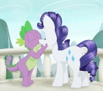 absurd_res anthro butt couple cub cutie_mark dragon duo equine eyes_closed eyeshadow female feral friendship_is_magic fur hair hi_res horn ixbalam kissing makeup male mammal my_little_pony outside purple_body purple_hair railing rarity_(mlp) scalie sky spike_(mlp) unicorn white_fur young  Rating: Safe Score: 8 User: Granberia Date: June 02, 2013