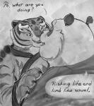 anthro bear bedroom_eyes claws clothing digital_media_(artwork) dreamworks duo feline fur greyscale half-closed_eyes implied koh kung_fu_panda mammal master_tigress monochrome nervous panda po seductive stare stripes tiger white_fur  Rating: Safe Score: 4 User: Blonkpuff Date: February 27, 2016