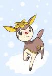 "alpacapala ambiguous_gender brown_fur cervine cute deer deerling fur grey_eyes mammal nintendo outside pokémon smile snow solo tan_fur video_games winter  Rating: Safe Score: 1 User: DeltaFlame Date: April 25, 2015"""