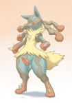 2014 anthro balls blush digitigrade dripping erection fangs front_view furemani knot looking_down lucario male mega_evolution mega_lucario nintendo open_mouth orange_eyes panting penis pokémon precum solo spikes thick_thighs video_games wide_hips   Rating: Explicit  Score: 20  User: Pokelova  Date: September 10, 2014