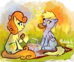 2012 blonde_hair carrot_top_(mlp) cuteskitty derpy_hooves_(mlp) duo eating equine eyelashes female food friendship_is_magic fur green_eyes grey_fur hair horse mammal my_little_pony orange_hair outside picnic_basket pony yellow_eyes yellow_fur   Rating: Safe  Score: 5  User: DeltaFlame  Date: February 14, 2015