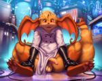 anthro balls clothing fur gloves hair half-erect hi_res humanoid_penis hybrid kilver lab_coat looking_at_viewer male nintendo open_mouth penis pokémon raichu sitting smile solo technology thick_thighs video_games