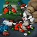 2014 akita anal anal_penetration anthro ball_gag bdsm bondage bound butt canine christmas cum cum_inside cup digital_media_(artwork) doberman dog duo farros gag gift_wrapped hat holidays hot_drink jackal knot male male/male mammal muzzle_(object) muzzled nude paws penetration penis pom_hat santa_hat sex smile staggard tag tree wrapped_up  Rating: Explicit Score: 16 User: *Sellon* Date: December 31, 2014