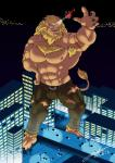 2018 5_fingers abs aircraft anthro armpit_hair barefoot belt biceps biped black_claws black_nose blue_eyes body_hair brown_fur brown_nipples brown_tail building bulge car chest_hair city claws clothed clothing detailed_background digimon digital_media_(artwork) ear_piercing fangs feline front_view fur green_bottomwear green_clothing green_pants hand_on_hip helicopter hi_res huge_muscles leomon macro male mammal mane miguel_okami muscular muscular_male night nipples outside pants pecs piercing signature sky smile smirk solo standing tail_tuft toe_claws toes topless torn_clothing tuft vehicle yellow_maneRating: QuestionableScore: 3User: Cash_BanoocaDate: March 19, 2018