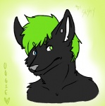 anthro biped black_fur blue_eyes bust_portrait canine charlie_weems_(character) clothed clothing ears_up fox fur gradient_background green_background green_eyes green_hair grey_nose grimace hair heterochromia looking_back male mammal oogie pointy_ears portrait simple_background solo stud_earring topless