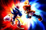blue_body blue_eyes clothing crossover facial_hair fire gloves green_eyes hat haychel hedgehog human male mammal mario mario_bros mustache nintendo pants sega shoes socks sonic_(series) sonic_the_hedgehog video_games   Rating: Safe  Score: 6  User: slyroon  Date: October 06, 2012