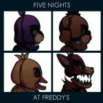 album_cover animatronic anthro avian bear bird bonnie_(fnaf) brown_fur canine chica_(fnaf) cover demon_days female five_nights_at_freddy's fox foxy_(fnaf) freddy_(fnaf) fur gorillaz group hat hi_res lagomorph looking_at_viewer machine male mammal onitime_(artist) parody purple_fur rabbit red_fur robot sharp_teeth teeth text video_games yellow_fur