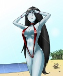 adventure_time beach bikini black_hair blush breasts clothed clothing eyewear female finn_the_human glasses hair human long_hair marceline one-piece_swimsuit outside red_clothes seaside skimpy sling_bikini sweat swimsuit vampire   Rating: Questionable  Score: 27  User: DJ-Voidweaver  Date: October 30, 2012