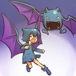 alternate_species bat blue_hair cosplay duo fangs female flying golbat hair hitec human humanized looking_at_viewer mammal membranous_wings mini_me nintendo open_mouth pokémon pokémon_(species) short_hair video_games waddling_head wings