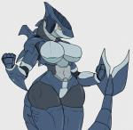 2016 5_fingers anthro big_breasts breasts digital_media_(artwork) female fin fish hi_res machine marine methados orange_eyes robot shark simple_background solo tail_fin white_background