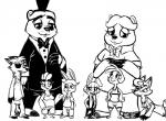 alternate_species anthro avian barefoot bear bird black_and_white bonnie_(fnaf) breasts buckteeth canine chica_(fnaf) chicken clothed clothing disney eye_contact eye_patch eyewear female five_nights_at_freddy's five_nights_at_freddy's_2 fox foxy_(fnaf) freddy_(fnaf) frown furrification group hat inkyfrog lagomorph looking_at_viewer male mammal mangle_(fnaf) monochrome rabbit smile style_parody teeth top_hat toy_bonnie_(fnaf) toy_chica_(fnaf) toy_freddy_(fnaf) video_games zootopia