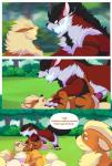 2016 alternate_color ambiguous_gender animal_genitalia arcanine being_watched bunnyonthefence comic duo_focus english_text feral fight fire frown group growlithe male male/male nintendo outside penis penis_tip pokémon sheath speech_bubble text video_gamesRating: ExplicitScore: 6User: ArcaninephiliaDate: March 29, 2017