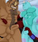 abs alexander_(character) anthro ball_fondling balls beast_(disney) beauty_and_the_beast biceps big_muscles black_fur black_hair black_nose blue_fur blue_nose blue_penis brown_fur brown_nose brown_penis canine claws clenched_teeth disney erection eyes_closed fangs fellatio fondling fur group group_sex hair horn humanoid_penis interspecies kneeling leaking male male/male mammal markings monster monsters_inc muscular muscular_male nude open_mouth oral pecs penis phellanzwolfie pixar precum presenting red_eyes red_fur saliva sex sheath standing sucking sulley teeth threesome wolf wristband  Rating: Explicit Score: 8 User: kurama1001 Date: November 09, 2013