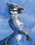 anthro avian ball_gag bdsm beak bird blue_jay bound breasts chain collar cum cum_in_mouth cum_inside drooling feathers female gag handcuffs harness nude ruaidri saliva shackles solo yellow_eyes  Rating: Explicit Score: 38 User: ippiki_ookami Date: September 30, 2015