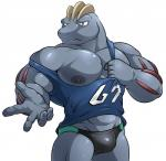 abs anthro biceps big_muscles bulge clothing grey_nipples grey_skin hi_res looking_at_viewer machoke maldu male muscular nintendo nipples pecs pokémon shirt simple_background solo speedo standing swimsuit tank_top tight_clothing underwear vest video_games white_backgroundRating: SafeScore: 9User: Cat-in-FlightDate: June 03, 2017