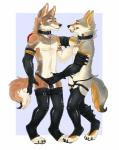 anthro bulge canine clothed clothing collar coyote duo ear_piercing eye_contact fully_sheathed fur grope half-dressed iceblizzard licking licking_lips male male/male mammal piercing rubber sheath sheath_grab smile standing tongue tongue_out   Rating: Explicit  Score: 20  User: NotAgain  Date: May 18, 2015