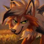 2019 ambiguous_gender canid canine dusk_lycanroc feral fur grass green_eyes inner_ear_fluff kenket looking_at_viewer lycanroc mammal mountain nintendo open_mouth orange_fur outside pokémon pokémon_(species) smile solo video_games white_fur