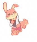 anthro badgegrab balls blush clothing fur lagomorph male mammal nintendo nintendo_badge_arcade rabbit solo underwear video_games  Rating: Questionable Score: 4 User: Incognito-Fluffisto Date: November 30, 2015