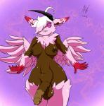 2015 anthro areola balls breasts dickgirl dim dragon feathered_wings feathers fluffy hair honky_kat horn intersex looking_at_viewer nipples nude penis shiny smile smooth_skin solo white_hair wings  Rating: Explicit Score: 0 User: cellidor Date: May 19, 2015