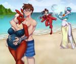2018 absurd_res anthro beach belly bikini blaziken blithedragon blue_eyes breast_grab breasts brown_hair clothed clothing cloud digital_media_(artwork) eyewear female gardevoir glasses group hair hand_on_breast hi_res human human_on_anthro humanoid interspecies latias legendary_pokémon long_hair male male/female mammal multicolored_hair navel nintendo nipple_bulge one-piece_swimsuit one_eye_closed open_mouth outside pokémon pokémon_(species) poképhilia ponytail pregnant seaside shiny_pokémon short_hair sky sling_bikini smile swimsuit topless video_games water yellow_sclera