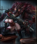 balls bloodborne blue_eyes breasts canine claws clothed clothing duo erection female gun hair half-dressed hat human legwear male mammal monster nipples penis pussy ranged_weapon red_hair thigh_highs vempire video_games weapon were werewolf  Rating: Explicit Score: 23 User: Pasiphaë Date: April 11, 2015