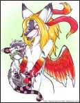 anthro blonde_hair breasts canine duo female hair holly_massey long_hair mammal marsupial open_mouth opossum red_eyes seux teeth tongue virginia_opossum wings   Rating: Questionable  Score: 0  User: scrapies  Date: February 21, 2008
