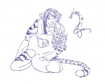anthro back breasts butt canine cuddling duo feline female fox foxie foxielove hair hug khon long_hair male mammal side_boob sitting smile stripes tiger   Rating: Questionable  Score: 1  User: sheerkhon  Date: June 21, 2013