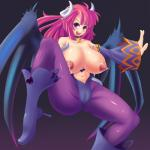 big_breasts blush breasts clothed clothing demon detached_sleeves disgaea female gradient_background hair hi_res horn lactating long_hair milk nipples not_furry open_mouth pointy_ears pose purple_eyes red_hair simple_background skimpy smile solo spread_legs spreading succubus tight_clothing topless umigarasu video_games wings  Rating: Questionable Score: 8 User: Pasiphaë Date: April 27, 2016