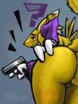 ? anthro butt canine digimon female fox fur gun handgun holding holding_weapon mammal nude pistol pussy ranged_weapon renamon sligarthetiger smile solo weapon white_fur yellow_fur  Rating: Explicit Score: 19 User: ippiki_ookami Date: October 10, 2012