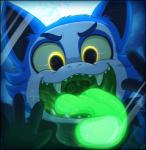 2016 anthro black_fur blue_fur canine cloud cute drooling eerie_(telemonster) fur gaping_mouth glass glowing glowing_eyes glowing_tongue green_mouth green_sclera incredibleediblecalico male mammal mouth_shot night on_glass open_mouth open_smile outside reaction_image saliva sharp_teeth sky smile solo star teeth telemonster tongue uvula were werewolf white_fur yellow_eyes
