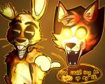 animatronic duo five_nights_at_freddy's five_nights_at_freddy's_3 foxy_(fnaf) glowing glowing_eyes machine robot springtrap_(fnaf) toy-bonnie video_games  Rating: Safe Score: 1 User: Vallizo Date: July 17, 2015