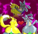 <3 blush breasts digimon female female/female looking_at_viewer lucario nintendo pokémon renamon saliva sex toy video_games  Rating: Explicit Score: 2 User: theomorashiguy Date: July 03, 2015""