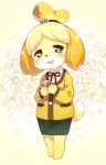 animal_crossing anthro black_nose blonde_hair canine clothing dog dress female fur hair hair_ornament happy isabelle_(animal_crossing) mammal nintendo short_hair solo uniform unknown_artist video_games white_fur yellow_fur  Rating: Safe Score: 2 User: Cαnε751 Date: November 10, 2015