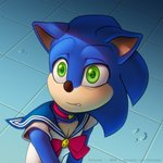 1:1 2020 anthro blue_body blush bow challenge clothed clothing collar digital_media_(artwork) eulipotyphlan green_eyes hedgehog kotyami male mammal sailor_moon_redraw_challenge saloon_dress scared solo sonic_the_hedgehog sonic_the_hedgehog_(film) sonic_the_hedgehog_(series) teeth