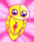 <3 abstract_background ambiguous_gender arthropod big_eyes blush cocoon cute feral insect kakuna nintendo pokémon pokémon_(species) simple_background solo star the-chu video_games