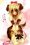 anthro blonde_hair blush bow breasts breast_squish brown_eyes brown_fur canid canine canis claws collar domestic_dog female fur hair hair_bow hair_ribbon hindpaw japanese_text leash looking_at_viewer mammal marie paws ribbons sad short_hair sitting solo tears tetetor-oort text translated young