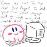 alien blue_eyes blush computer english_text keyboard kirby kirby_(series) low_res male nintendo not_furry smile solo text text_background unknown_artist video_games  Rating: Safe Score: 16 User: Nuji Date: February 12, 2016