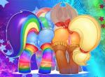 0r0ch1 anus applejack_(mlp) blonde_hair butt duo equine female friendship_is_magic hair hat horse legwear mammal my_little_pony pegasus pony pussy rainbow_dash_(mlp) stockings wings   Rating: Explicit  Score: 47  User: JGG3  Date: May 13, 2015