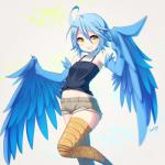 avian blue_feathers blue_hair blueberry_(artist) breasts clothed clothing feathered_wings feathers female hair harpy hi_res monster monster_girl monster_musume open_mouth papi_(monster_musume) shorts small_breasts solo wings yellow_eyes  Rating: Safe Score: 15 User: Pasiphaë Date: January 12, 2016