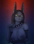 2013 anthro anubian_jackal areola big_breasts big_ears black_hair black_nose breast_fondling breasts bust canine claws collar darkness dreadlocks ear_piercing female fishnet fondling fur gradient_background green_eyes grey_fur hair jackal kadath long_ears mammal naughty_face nightshade_(kadath) nipples piercing pose seductive shiny smile solo spiked_collar   Rating: Questionable  Score: 88  User: TheHuskyK9  Date: November 21, 2013