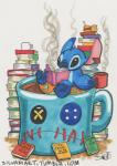 4_fingers 4_toes alien beverage black_eyes blue_claws blue_fur blue_nose book claws coffee cup disney english_text experiment_(species) fur head_tuft holding_book holding_cup holding_object honey inanimate_object inner_tube james_silvani jar lilo_and_stitch notched_ear pleakley reading relaxing scrump signature solo steam stitch text toes traditional_media_(artwork) url