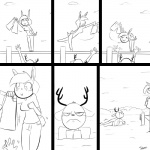 1:1 :3> angry anthro antlers bottomwear breasts cervid clothing comic duo female frown horn lagomorph lake leporid male mammal monochrome outside pier prank rabbit seaside shorts slypon teasing unamused water