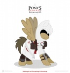anowia armor assassin assassin's_creed bronyhood brown_feathers brown_hair cloak clothing crossover english_text equine eyeless feathered_wings feathers feral gauntlets gloves greaves hair male mammal mask my_little_pony pegasus robe saddle_bag simple_background solo tan_feathers text video_games weapon white_background wings