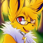 2015 ambiguous_gender bush candyfoxy day eeveelution eyewear feral forest fur glasses grass happy jolteon looking_at_viewer male neck_tuft necklace nintendo open_mouth pokémon red_eyes shiny smile solo tongue tree tuft video_games volty white_fur yellow_fur  Rating: Safe Score: 13 User: TheGreatWolfgang Date: June 28, 2015