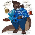 1:1 absurd_res clothing conjoined felid feline gnoll hi_res hyaenid lutrine mammal merging min multiarm multi_arm multi_eye multi_face multi_limb multi_snout mustelid overweight standing sweater thick_tail topwear where_is_your_god_now