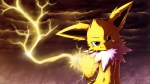ambiguous_gender black_eyes black_nose black_skin canine cloud eeveelution electricity fist fur happy jolteon kampidh looking_at_viewer mammal nintendo nude outside pink_eyes pointy_ears pokémon raised_arm sea shadow shiny smile solo thunder video_games water white_fur yellow_fur   Rating: Safe  Score: 8  User: WiiFitTrainer  Date: May 21, 2013