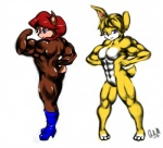 007mitchellq abs anthro biceps breasts bunnie_rabbot butt duo female flexing lagomorph looking_at_viewer looking_back mammal muscles nude pose rabbit rodent sally_acorn smile sonic_(series)   Rating: Questionable  Score: -2  User: Munkelzahn  Date: September 01, 2013