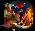 bandanna blue_eyes claws clothed clothing digital_media_(artwork) dinosaur feather_hair feathers fire fivel food male meat raptor scar sitting snarl_(character) solo stick stripes   Rating: Safe  Score: 10  User: Narokh  Date: February 08, 2015