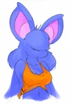 """2015 anthro bangs_(character) bat big_ears blue_fur blue_hair breasts bust clothed clothing elpatrixf eyeless female fur hair hair_over_eyes long_hair mammal midriff navel nintendo plain_background pointy_ears pokémon pokémorph solo video_games white_background wings zubat  Rating: Safe Score: 7 User: Lance_Armstrong Date: June 26, 2015"""""""