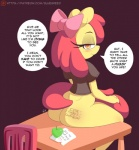 2016 anthro anthrofied apple apple_bloom_(mlp) bluebreed blush body_writing bottomless bow butt chair clothed clothing dialogue earth_pony english_text equine female food friendship_is_magic fruit hair half-closed_eyes horse looking_at_viewer mammal my_little_pony patreon pony sitting smile solo table text  Rating: Questionable Score: 19 User: lemongrab Date: February 06, 2016
